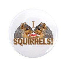 "I Heart / Love Squirrels! 3.5"" Button (100 pack)"