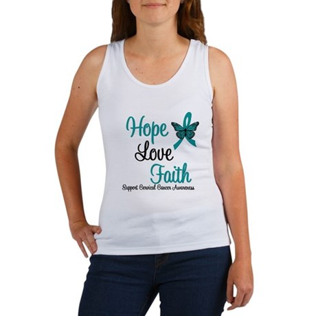 Hope Love Faith Cervical Cancer Women's Tank Top