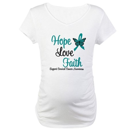 Hope Love Faith Cervical Cancer Maternity T-Shirt