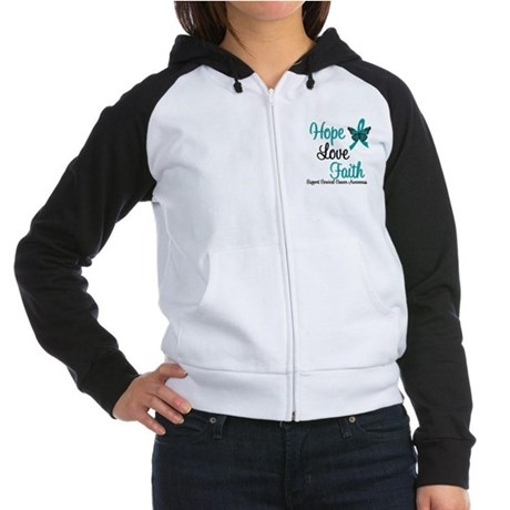 Hope Love Faith Cervical Cancer Women's Raglan Hoo