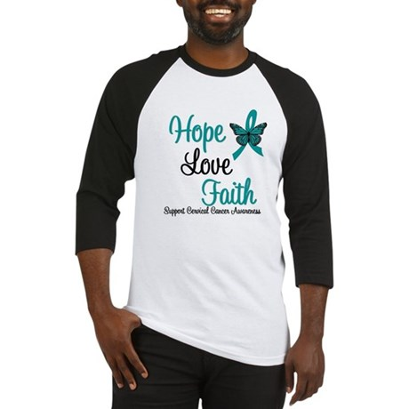 Hope Love Faith Cervical Cancer Baseball Jersey