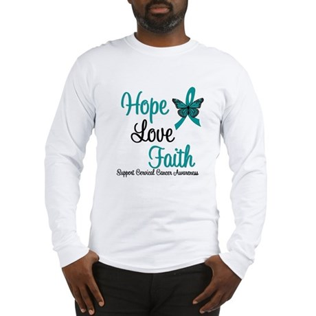 Hope Love Faith Cervical Cancer Long Sleeve T-Shir