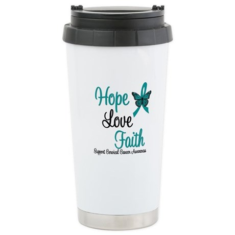 Hope Love Faith Cervical Cancer Ceramic Travel Mug