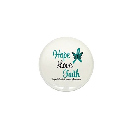 Hope Love Faith Cervical Cancer Mini Button (10 pa