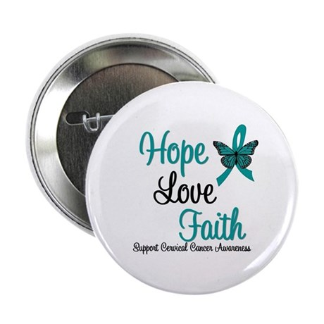 Hope Love Faith Cervical Cancer 2.25&quot; Button (10 p