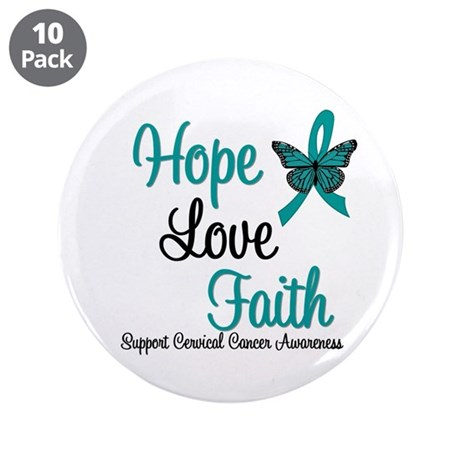 Hope Love Faith Cervical Cancer 3.5&quot; Button (10 pa