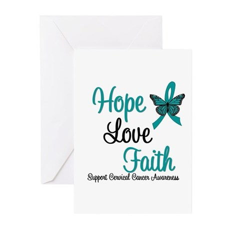 Hope Love Faith Cervical Cancer Greeting Cards (Pk