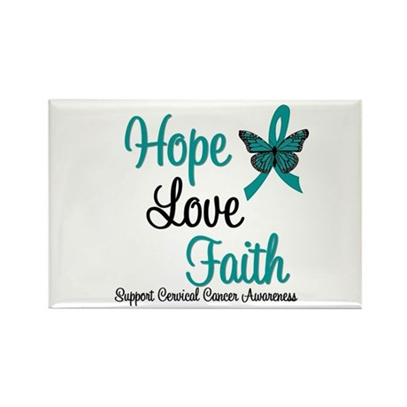 Hope Love Faith Cervical Cancer Rectangle Magnet