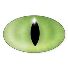 Cat's Eye Green Halloween Oval Sticker (50 pk)