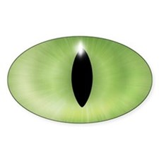 Cat's Eye Green Halloween Oval Decal
