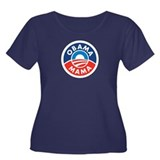 Obama Mama Wmn's Plus Size Scoop Neck Dark T-Shirt