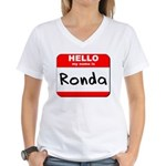 Hello my name is Ronda Women's V-Neck T-Shirt