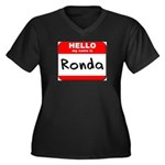 Hello my name is Ronda Women's Plus Size V-Neck Da