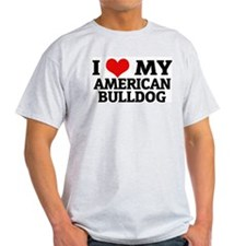 I Love My American Bulldog Ash Grey T-Shirt