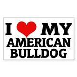 I Love My American Bulldog Rectangle Decal