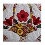 Trudy's Flower Basket Tile Coaster