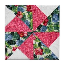 Floral Pinwheel Tile Coaster