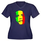 Obama Green Gold Red Face Women's Plus Size V-Neck