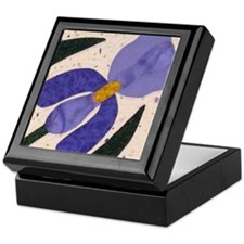blue & purple iris Keepsake Box