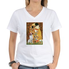 Kiss/Brittany Spaniel Women's V-Neck T-Shirt