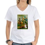 Spirit/Brittany Spaniel Women's V-Neck T-Shirt