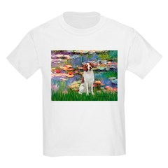 Lilies 2/Brittany Spaniel Kids Light T-Shirt
