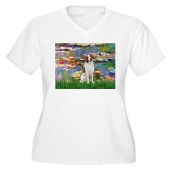Lilies 2/Brittany Spaniel Women's Plus Size V-Neck