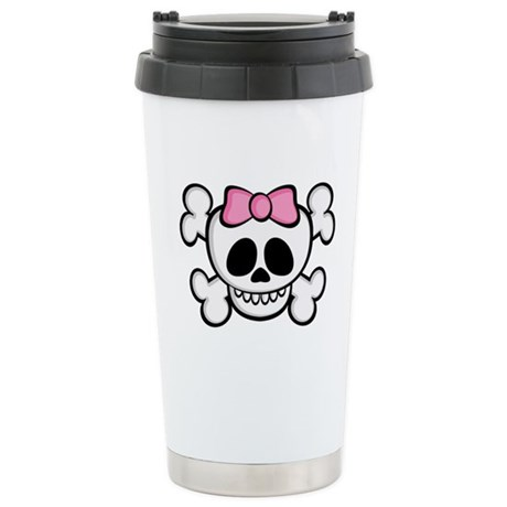 Ha-Ha Skull Girl Ceramic Travel Mug