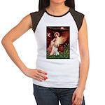 Angel/Brittany Spaniel Women's Cap Sleeve T-Shirt