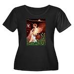 Angel/Brittany Spaniel Women's Plus Size Scoop Nec