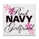 Proud Navy Girlfriend Tile Coaster