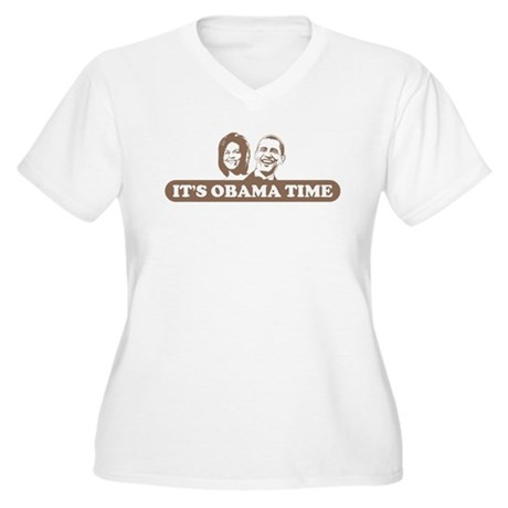 It's Obama Time Women's Plus Size V-Neck T-Shirt