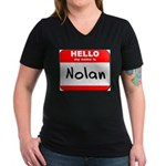 Hello my name is Nolan Women's V-Neck Dark T-Shirt