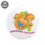 "Groovy Miniature Pinscher 3.5"" Button (10 pack)"
