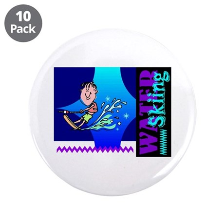 "Water Skiing 3.5"" Button (10 pack)"