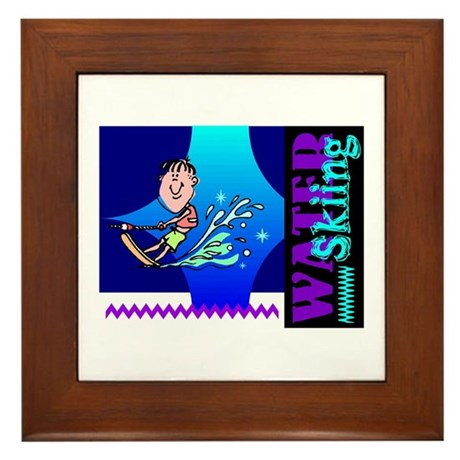 Water Skiing Framed Tile