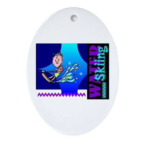 Water Skiing Oval Ornament