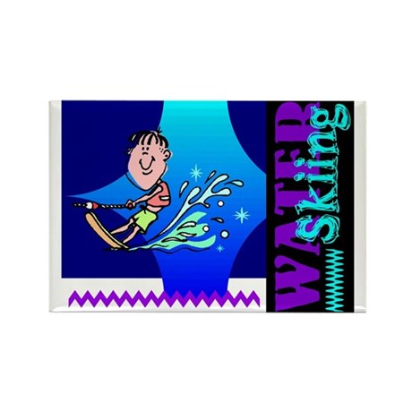 Water Skiing Rectangle Magnet