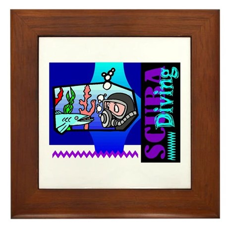 Scuba Diving Framed Tile