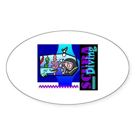 Scuba Diving Oval Sticker