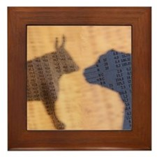 Bull and Bear Silhouette Framed Tile