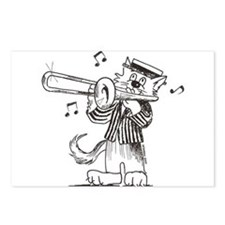 Catoons trombone cat Postcards (Package of 8)