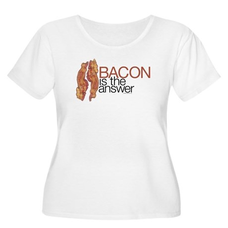 """Bacon is the Answer"" Women's Plus Size Scoop Neck"