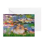 Lilies2/Pomeranian #4 Greeting Card