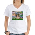 Lilies2/Pomeranian #4 Women's V-Neck T-Shirt
