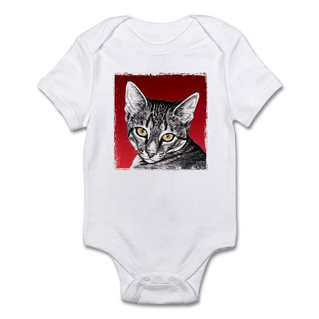 Pencil Tabby Red Background Infant Bodysuit