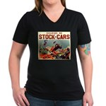 French Racing Women's V-Neck Dark T-Shirt