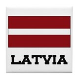 Latvia Flag Tile Coaster