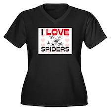 I Love Spiders Women's Plus Size V-Neck Dark T-Shi