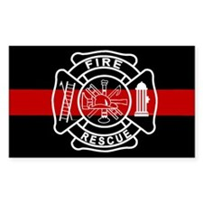 Firefighter Thin Red Line Rectangle Sticker 10 pk